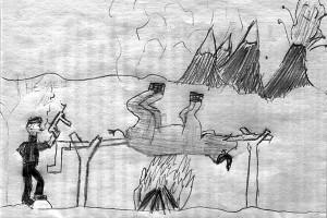 Немец жарит бизона. Н. Б. к., б., 2009 г.