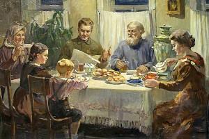 "Баюскин Василий Степанович. ""За обедом"". 1950-е гг"