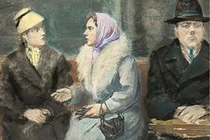 Устинов Е.А. В метро. 1970-е гг (фрагмент)