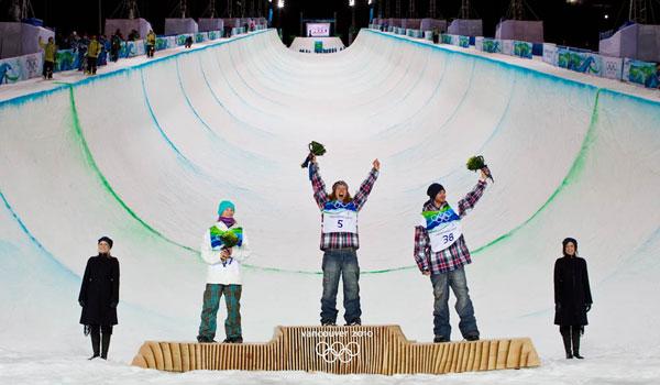 Olympics Vancouver 2010. Halfpipe Finals Mens. Peetu Piiroinen, Shaun White, Scott Lago.