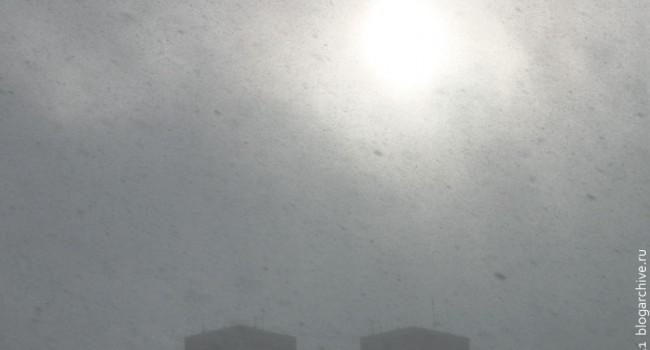 Вид на солнце зимой.
