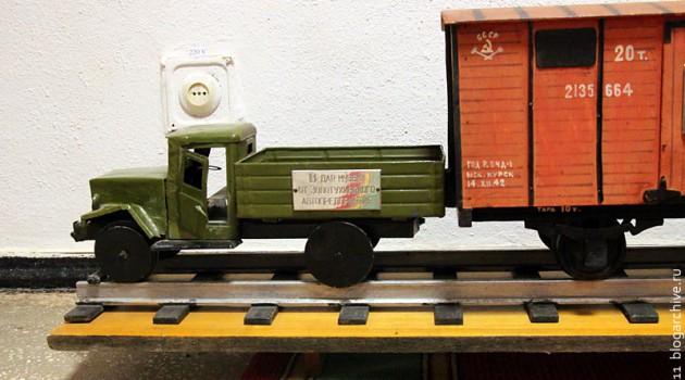 Макет железнодорожного автомобиля в музее КП Центральной армии.
