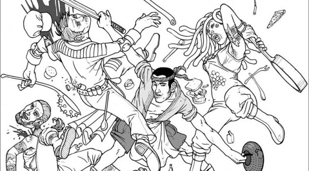"Рисунок в стиле slaughter-fest из американского комикса ""Get Jiro"" (Получи, Джиро) Anthony Bourdain. 2011 год."