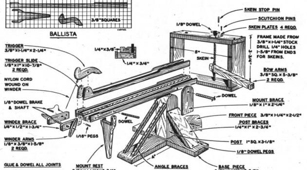Чертежи моделей древних боевых машин. Баллиста.