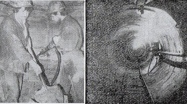 Фото слева: проходка ведется «стахановским» методом — при помощи отбойного молотка и лопаты; фото справа: вход в длинный бетонный тоннель.