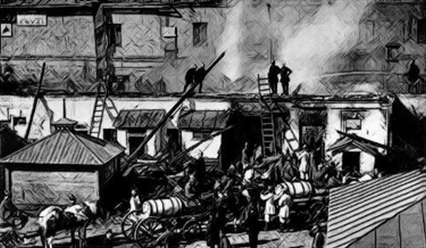 Тушение пожара в Москве в начале ХХ века