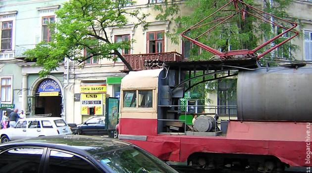Поливомоечный трамвай № ПМ-1. Одесса, 2006 г.